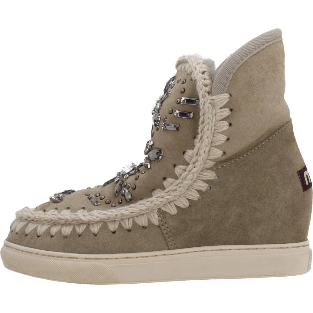 cd81329df26 MOU INNER WEDGE SNEAKER CRYSTALS MARRON Zacaris zapatos online.