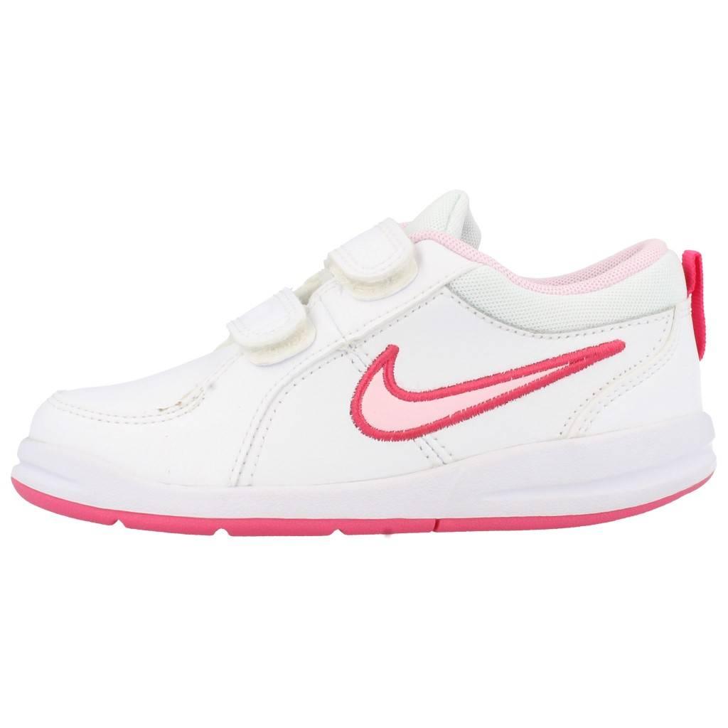Zapatilla Nike PICO 5 TDV para Niña Blanco rosa completa